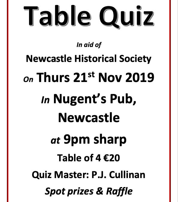 Table Quiz – In aid of Newcastle Historical Society