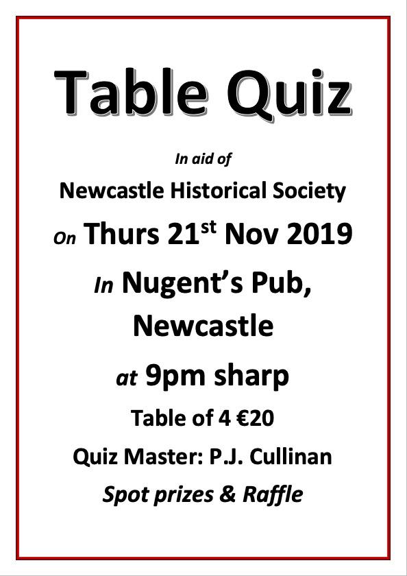 Table quiz in Newcastle Clonmel Tipperary November 2019