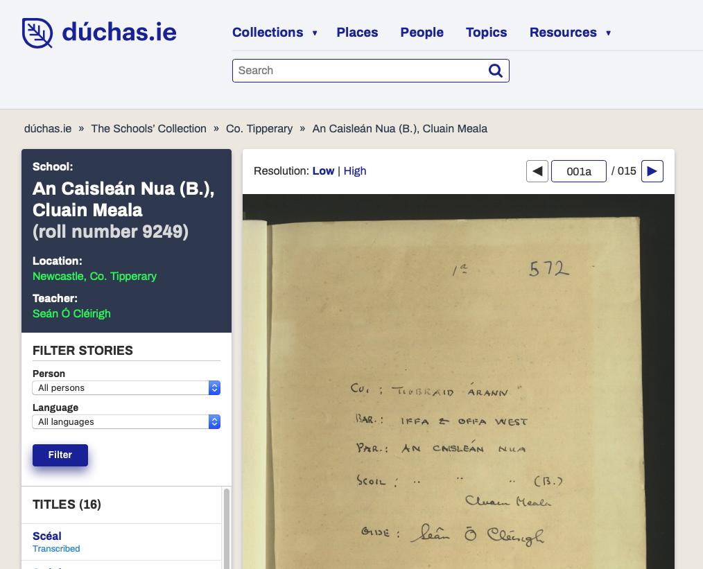 Duchas Ireland Newcastle story page