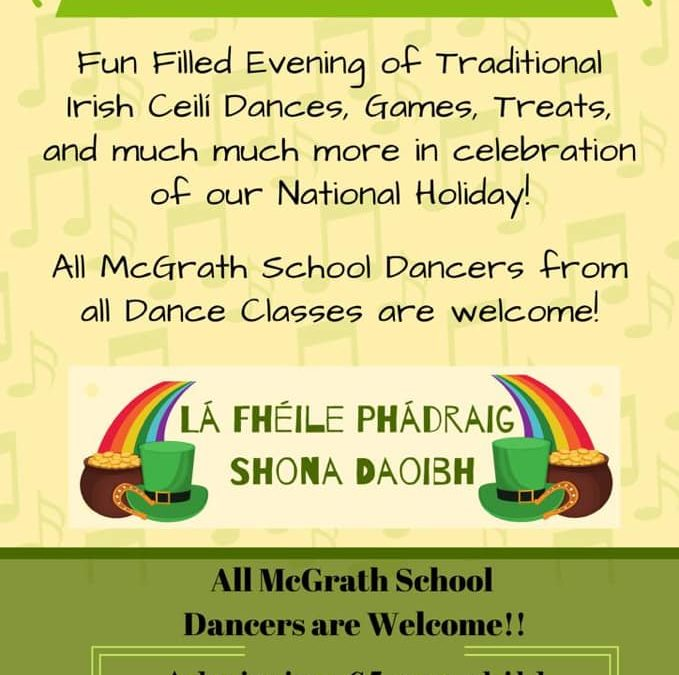 CANCELLED – St. Patrick's Fundraising Youth Ceilí – Friday 13th March, 5 – 7 pm.