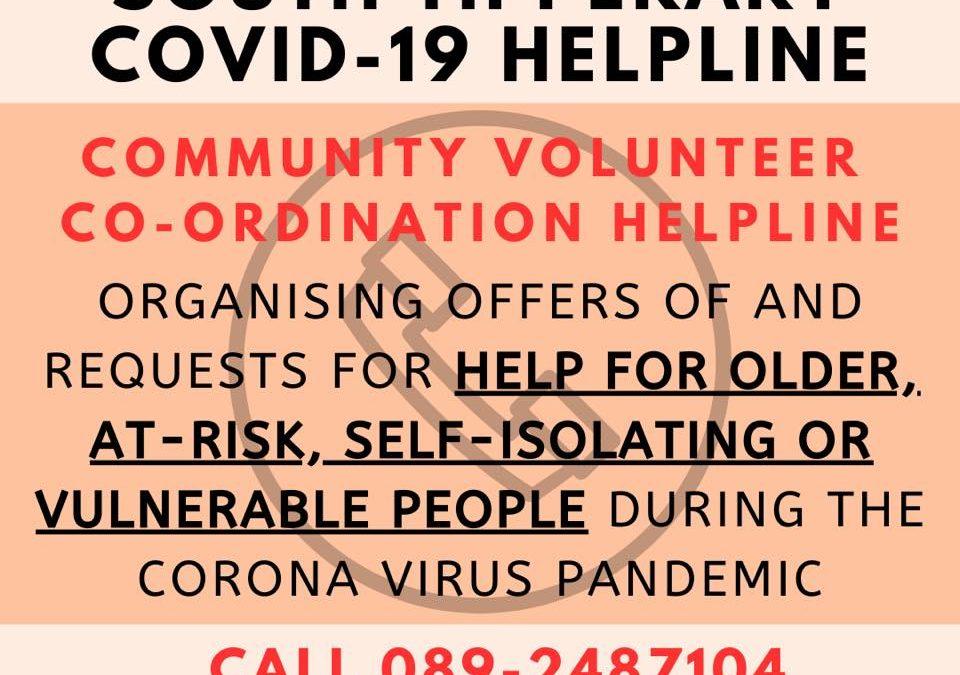 16th October 2020 – South Tipperary Community Volunteer Helpline – 089 2487104