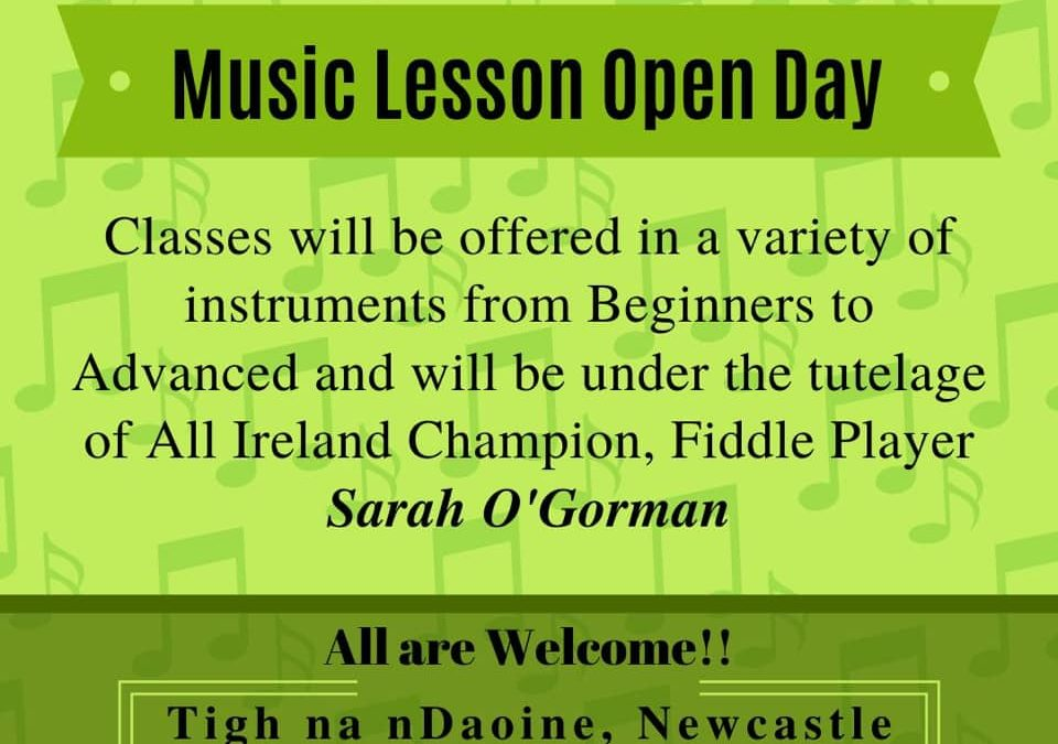 CANCELLED – Caisleán Nua CCE will hold an Irish music open day in Tigh na nDaoine on Sunday March 15th 2020
